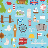 United kingdom great britain travel tourism vector illustration seamless pattern Stock Photo
