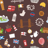 United kingdom great britain travel tourism vector illustration seamless pattern Royalty Free Stock Image