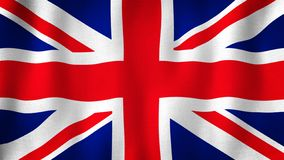 United Kingdom of Great Britain, Union Jack flag waving in the wind. Closeup of realistic British flag with highly detailed fabric