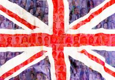 United kingdom Great Brittan flag with portraits Stock Images