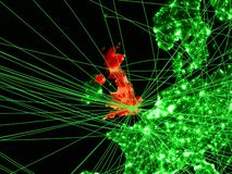United Kingdom on green map. With networks. Concept of international travel, communication and technology. 3D illustration. Elements of this image furnished by vector illustration