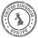 United Kingdom grunge rubber stamp map and text. Round textured country stamp with map outline. Vector illustration Royalty Free Stock Photo