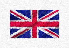 United Kingdom hand painted waving national flag, oil paint isol. Ated on white canvas, 3D illustration Stock Photography