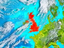 United Kingdom in red on Earth. United Kingdom highlighted in red on planet Earth. 3D illustration. Elements of this image furnished by NASA Stock Photo