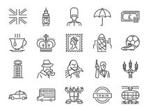 United Kingdom icon set. Included the icons as tea time, British pound, London taxi, queen, flag, bus, Big ben tower and more stock illustration