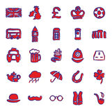United Kingdom Icons Freehand 2 Color Royalty Free Stock Photography