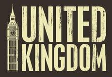 United Kingdom. Inscription United Kingdom with the Big Ben Stock Images