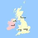 United Kingdom and Ireland map Stock Image