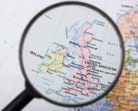 United Kingdom and Ireland. Under magnifying glass Stock Image