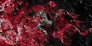 United Kingdom - Isle of Mann smoky mystical flag on the old dirty wall background royalty free illustration