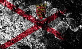 United Kingdom - Jersey smoky mystical flag on the old dirty wall background vector illustration