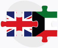 United Kingdom and Kuwait Flags in puzzle isolated on white background Stock Images