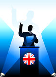 United Kingdom Leader Giving Speech on Stage Stock Photo