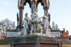 United Kingdom, London - Detail from Albert Memorial. United Kingdom, London - Albert memorial. It was commissioned by Queen Victoria in memory of her beloved Stock Photos