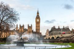 United Kingdom, London, Big Ben and the fountain of St Thomas Hospital Trust Royalty Free Stock Images