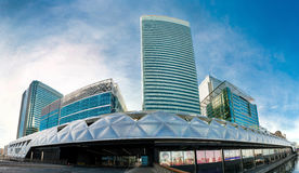 United Kingdom, London, Canary Wharf panorama. Canary Wharf - business and shopping district in East London. London`s financial centre Royalty Free Stock Photography
