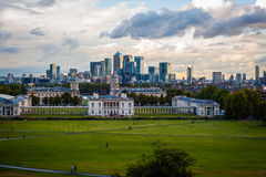2016 United Kingdom London Greenwich view to the central london and Canary wharf. Really industrial panorama. In evening sun Stock Photography