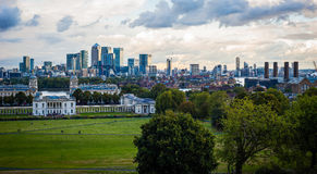 2016 United Kingdom London Greenwich view to the central london and Canary wharf. Really industrial panorama Stock Photo