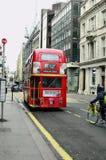 United Kingdom-London. London, United Kingdom - January 17th 2016: Traditional double-deck bus in Fleet street royalty free stock image