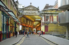 United Kingdom-London. London, United Kingdom - January 17th 2016: Unidentified people and shopping arcade Leadenhall Market in Tower Hill district Royalty Free Stock Image