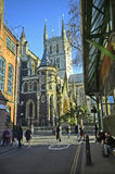 United Kingdom-London. London, United Kingdom - January 15th 2016: Unidentified people and Southwark cathedral at Borough market Royalty Free Stock Photo