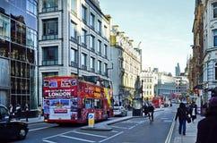 United Kingdom-London. London, United Kingdom - January 19th 2016: Unidentified people, traffic and buildings in Fleet street stock photos