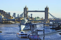 United Kingdom-London. London, United Kingdom - river Thames with Tower bridge and warship HMS Belfast Royalty Free Stock Photo