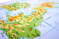 United Kingdom map. Mountains,rivers Stock Photography