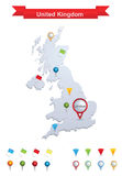 United Kingdom Map. Showing capital , whit gps pin icons vector illustration