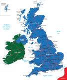 United Kingdom map. United Kingdom vector map with main regions,cities and roads Royalty Free Stock Photography