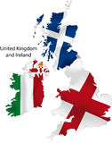 United Kingdom map. Vector illustration of a map and flag from England, Scotland, Northern Ireland, and Ireland stock illustration