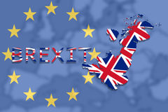 United Kingdom map with Brexit on Euro Union  background Stock Images