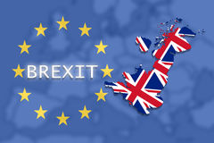 United Kingdom map with Brexit on Euro Union and Europe background Stock Photo