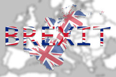United Kingdom map with Brexit on Europe background Royalty Free Stock Images