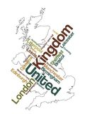 United Kingdom map and cities. United Kingdom map and words cloud with larger cities royalty free illustration