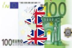 United Kingdom map with flag on Euro money background Royalty Free Stock Image