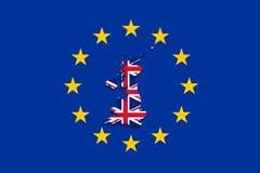 United Kingdom map with flag on Euro Union background Stock Photography