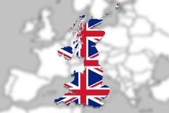 United Kingdom map with flag on Europe background Stock Photo
