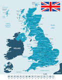 United Kingdom map, flag and navigation labels - illustration. Royalty Free Stock Photos