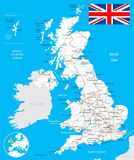 United Kingdom map, flag, roads - illustration. Royalty Free Stock Photos