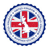 United Kingdom map and flag in vintage rubber. Stock Photo