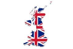United Kingdom map with flag on white background Stock Photography