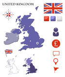United Kingdom map and icons set Stock Photo