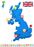 United Kingdom map and navigation icons - Illustration. Royalty Free Stock Image