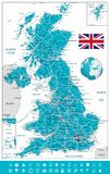 United Kingdom Map and navigation icons. Vector illustration Royalty Free Stock Photography