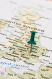 United Kingdom map pin. Pushpin on the map of United Kingdom, capital London Stock Images