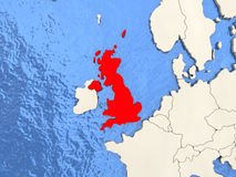 United Kingdom on map. United Kingdom in red on political map with watery oceans. 3D illustration vector illustration