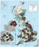 United Kingdom map with selectable territories. Vector Stock Photography