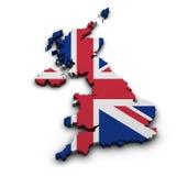 United Kingdom Map Shape. Great Britain background. Shape 3d of United Kingdom map with flag isolated on white Royalty Free Stock Photos