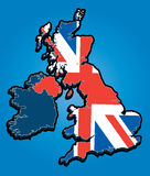 United Kingdom Map with Union Jack Royalty Free Stock Photo